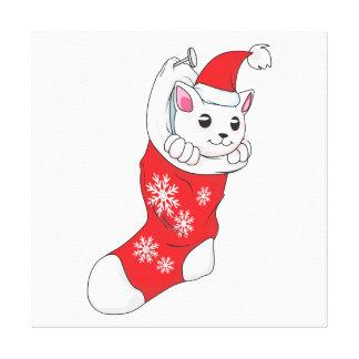 Peúga branca do vermelho do gato do gatinho do impressão de canvas envolvida
