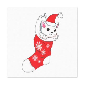 Peúga branca do vermelho do gato do gatinho do impressão de canvas esticadas