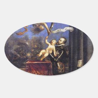 Philip II Don de oferecimento Fernando à vitória Adesivo Oval