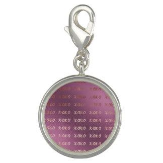 Photo Charm a tipografia cor-de-rosa do ouro do falso abraça e