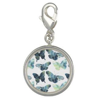 Photo Charm Teste padrão de borboletas azul verde artístico da