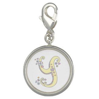 Photo Charms Rotule o coração do monograma de Y para florescer