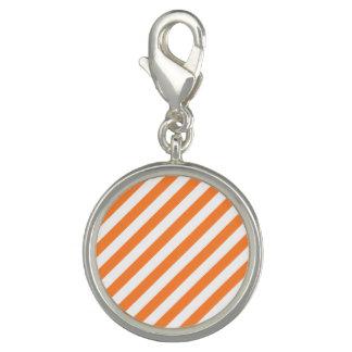 Photo Charms Teste padrão diagonal alaranjado e branco das