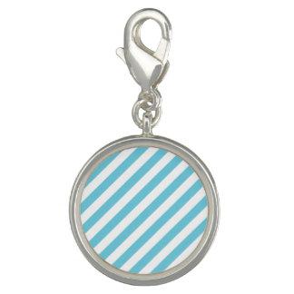 Photo Charms Teste padrão diagonal azul e branco das listras