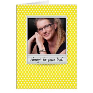 photoframe no polkadot branco & amarelo cartão de nota