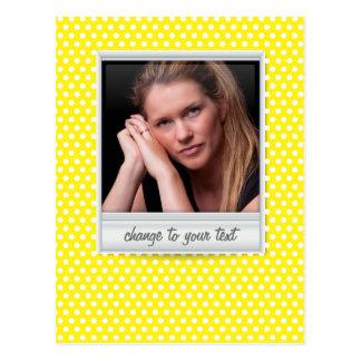 photoframe no polkadot branco & amarelo cartão postal