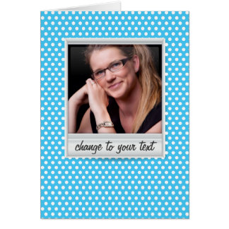 photoframe no polkadot branco & azul cartão de nota