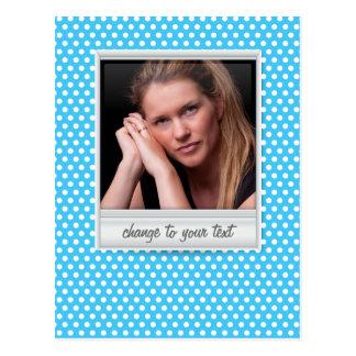 photoframe no polkadot branco & azul cartão postal