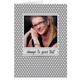 photoframe no polkadot branco & cinzento cartão de nota
