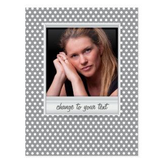 photoframe no polkadot branco & cinzento cartão postal