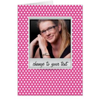 photoframe no polkadot branco & cor-de-rosa cartão de nota