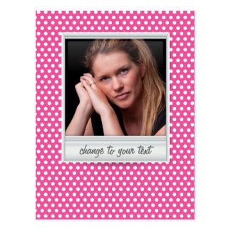 photoframe no polkadot branco & cor-de-rosa cartão postal