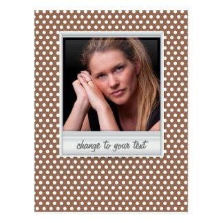 photoframe no polkadot branco & marrom cartão postal