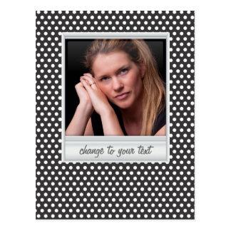 photoframe no polkadot branco & preto cartão postal