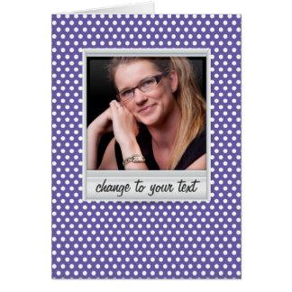 photoframe no polkadot branco & roxo cartão de nota