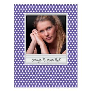 photoframe no polkadot branco & roxo cartão postal