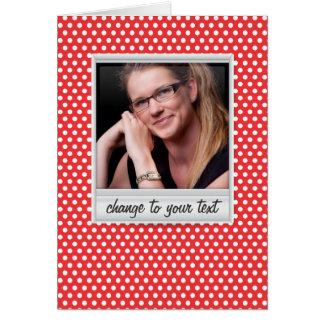 photoframe no polkadot branco & vermelho cartão de nota