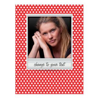 photoframe no polkadot branco & vermelho cartão postal