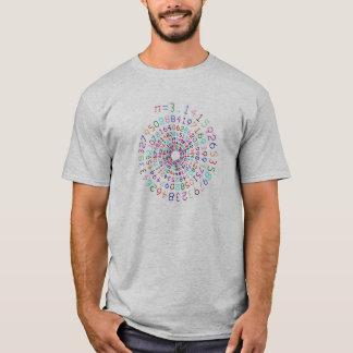 Pi em uma espiral - cor - camisa cinzenta