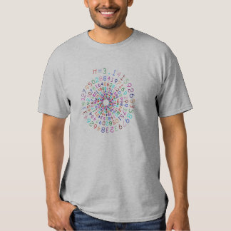 Pi em uma espiral - cor - camisa cinzenta tshirts