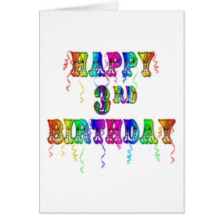 Pia batismal feliz do circo do aniversário de 3 an cartão comemorativo