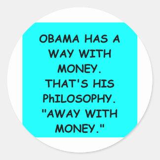 piada de anti-obama adesivo em formato redondo