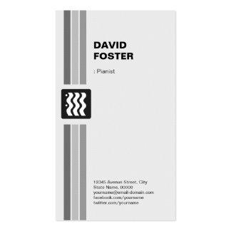 Pianista - branco preto moderno cartão de visita