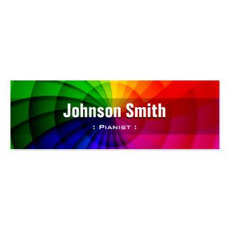 Pianista - cores radiais do arco-íris cartoes de visita