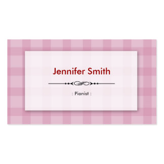 Pianista - quadrados cor-de-rosa bonito cartões de visita