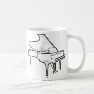 """Piano de cauda """"desenho """" caneca de café"""