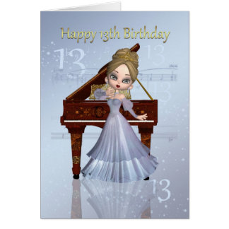 Piano e cartão de aniversário da música 13o com
