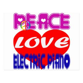 Piano elétrico do amor da paz cartao postal
