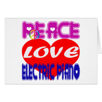 Piano elétrico do amor da paz cartoes