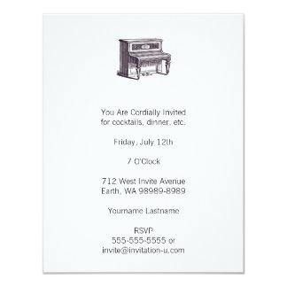 Piano ereto do vintage convite 10.79 x 13.97cm