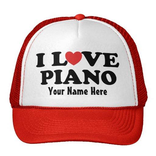 Piano personalizado eu amo o chapéu do presente da bones