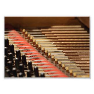 Piano Pinblock do vintage e impressão das cordas Impressão De Foto