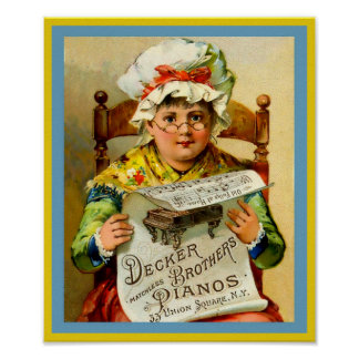 Pianos 1880 dos irmãos da ponte do anúncio do pôster