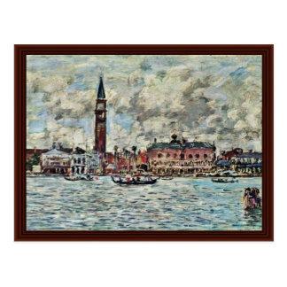 Piazzetta de San Marco em Veneza por Boudin Eugène Cartao Postal