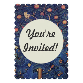 Pica-pau do design floral dos pássaros da convite 12.7 x 17.78cm