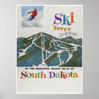 Pico de Terry, EUA, poster de viagens do esqui