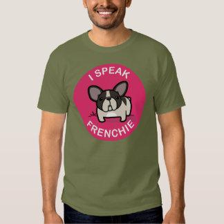 Pied rajado cor-de-rosa eu falo Frenchie Tshirt