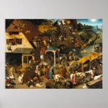 Pieter Bruegel os provérbio mais velhos de Netherl Pôster