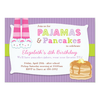 Pijamas e Sleepover da festa de aniversário das Convite 12.7 X 17.78cm