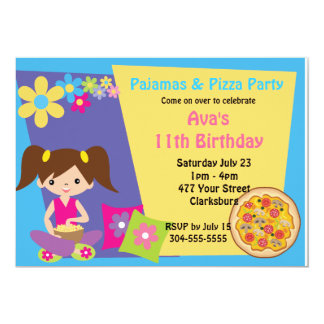 Pijamas & partido da pizza convites personalizados