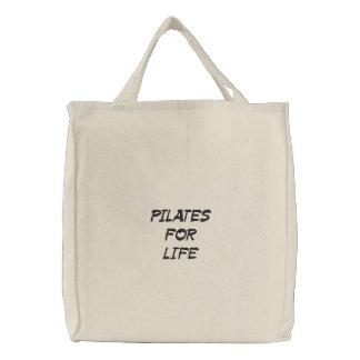 pilates para a vida bolsa tote bordada