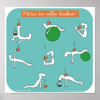 pilates para bebedores do café pôster