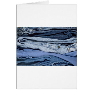 pilha de jeans da sarja de Nimes Cartão