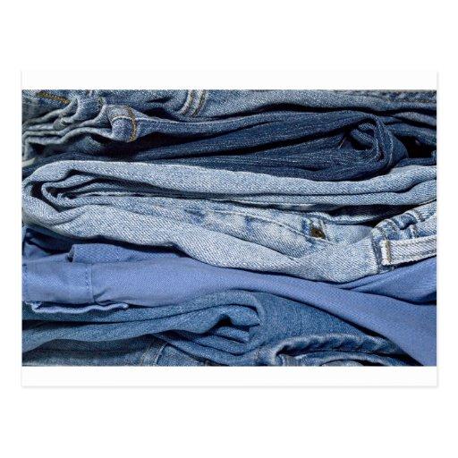 pilha de jeans da sarja de Nimes Cartões Postais