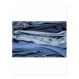 pilha de jeans da sarja de Nimes Cartão Postal