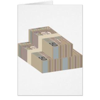 Pilhas falsificadas do dinheiro cartão comemorativo